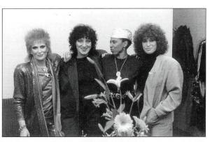 Dusty (L) with Carole Pope (2nd from L) and two unknown women, ca. 1981.
