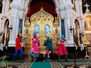 Pussy Riot protesting in the church.