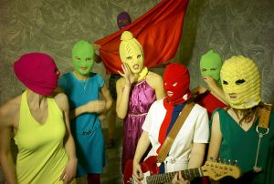 Pussy Riot is known for wearing brightly colored balaclavas.