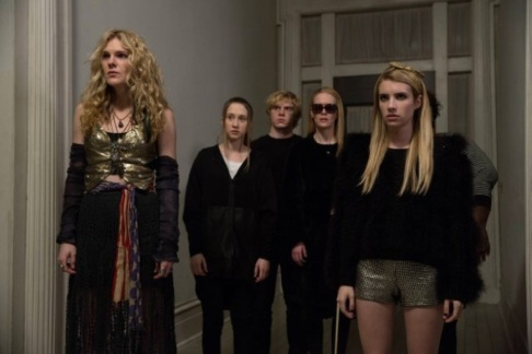 Paulson with other AHS vets Lily Rabe, Taissa Farmiga, Evan Peters and new additions Emma Roberts and Gabourey Sidibe.