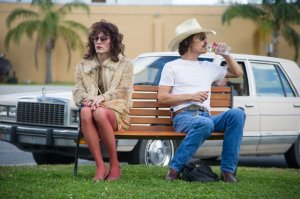 Jared Leto and Matthew McConaughey cozy up to each other in Dallas Buyers Club.